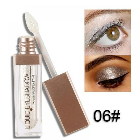 Acenx Liquid Eye Shadow, Shimmer Glitter Nude Metals Glow Eyeshadow Palette Waterproof Lasting Highlighter Beauty Makeup #6
