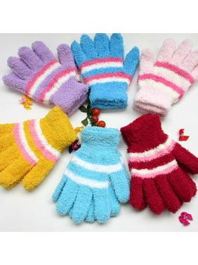 AkoaDa Kids Halfvelvet Gloves Soft Warm Knitted Glove Weave Winter Mitten Gift