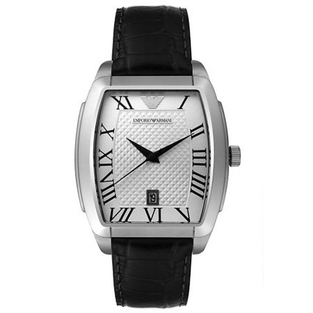 Emporio Armani Men's AR0933 Stainless Steel and Black Leather (Emporio Armani Size Chart)