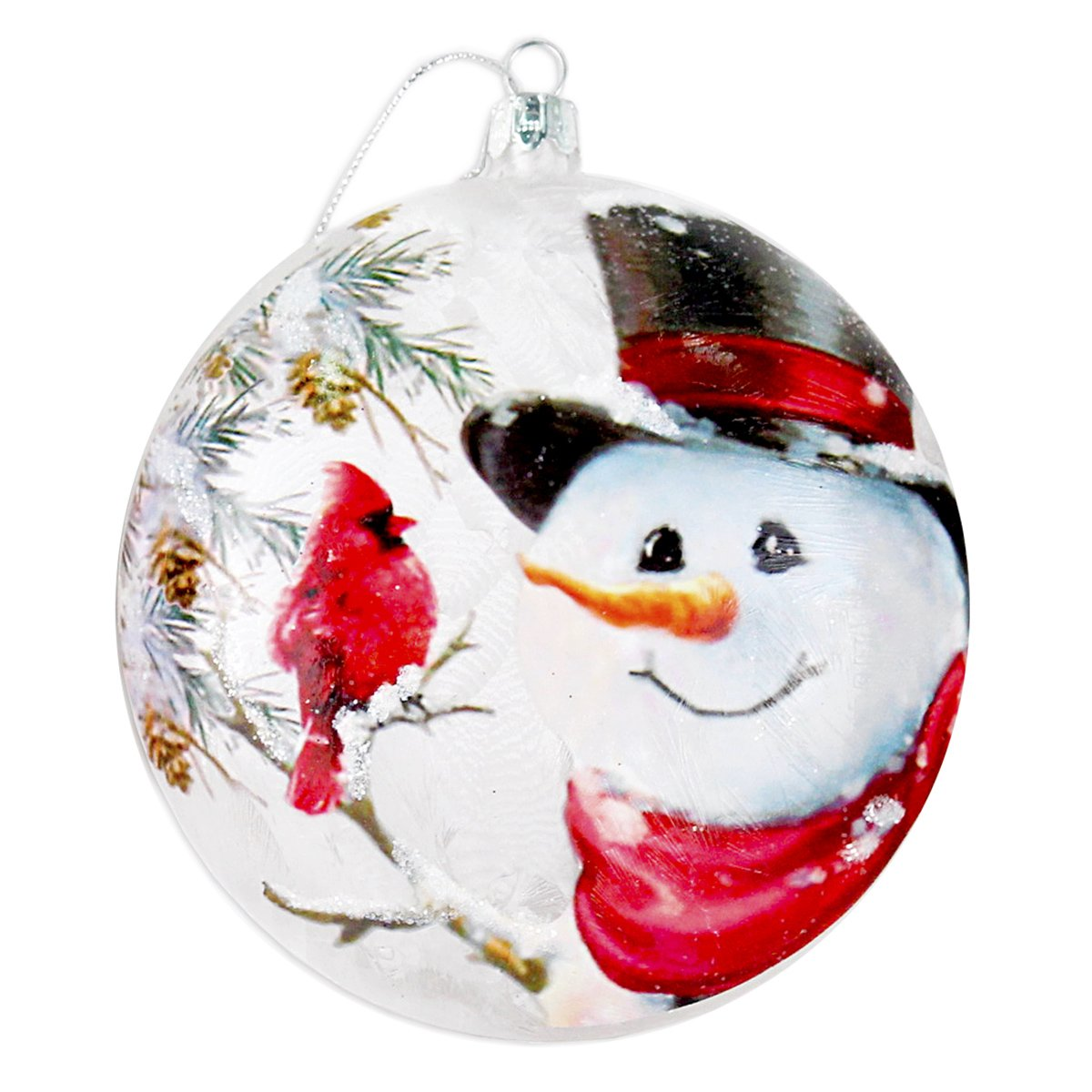 Stony Creek 4'' Round Glass Holiday Ornament Winter Jolly Snowman DSC7248-B