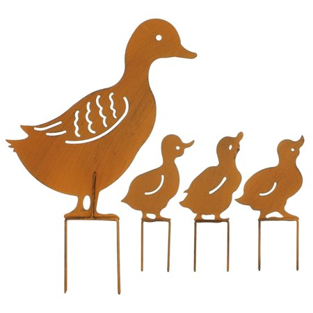 Metal Garden Stake Family Duck Shape Statue Animal Garden Retro Sculpture Outdoor Fences Lawn Backyards Stake Decoration Figurines Ornament Statues ()
