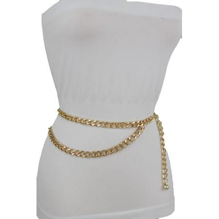 Women Belt Gold Metal Chain Links Hip Waist New Elegant Dressy Fashion