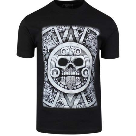 Aztec Calendar Skull Shirt Sun Stone of Axayactl Day of the Dead Tee