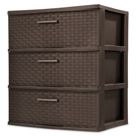Sterilite 3 Drawer Wide Weave Tower, Espresso - Cheap Store