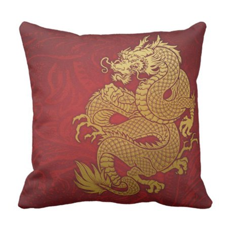 BPBOP Artsprojekt Chinese Dragon Gold and Asia Pillowcase Cushion Cover 16x16 inches (Gold Chinese Dragon)