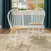 Better Homes and Gardens Autumn Lane Windsor Chairs, Set of 2, White and Natural by Generic
