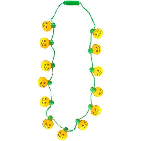 Light Up Halloween Pumpkin Jack-O-Lantern Light Bulb Necklace Costume Accessory - Pumpkin Costume Accessories