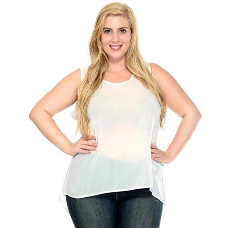 42dc3de7599fa7 Plus Women Casual Loose Sleeveless Chiffon Vest Tank T Shirt Blouse Tops