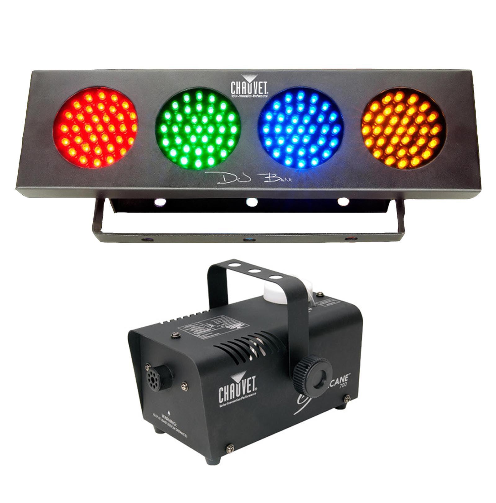 NEW! CHAUVET HURRICANE 700 H-700 Fog/Smoke Machine + DJ BANK LED RGBA Wash Light