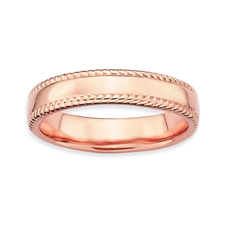 925 Sterling Silver Pink Plated Band Ring Size 10.00 Stackable Fancy/ Fine Jewelry For Women Gifts For Her - image 8 of 8