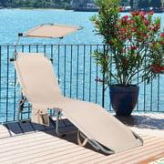 Costway Foldable Sun Shading Lounge Chair Adjustable Beach Sunbathing Recliner W/Pocket
