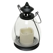 """Gerson 37812 - 10.5"""" Black Glass School House Lantern Melted Edge Battery Operated LED Resin Candle Light with Timer"""