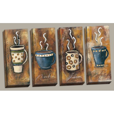 4 Retro Coffee Print Panels; Frappacino, Latte, Java, Mocha; Four 8X20in Hand-Stretched