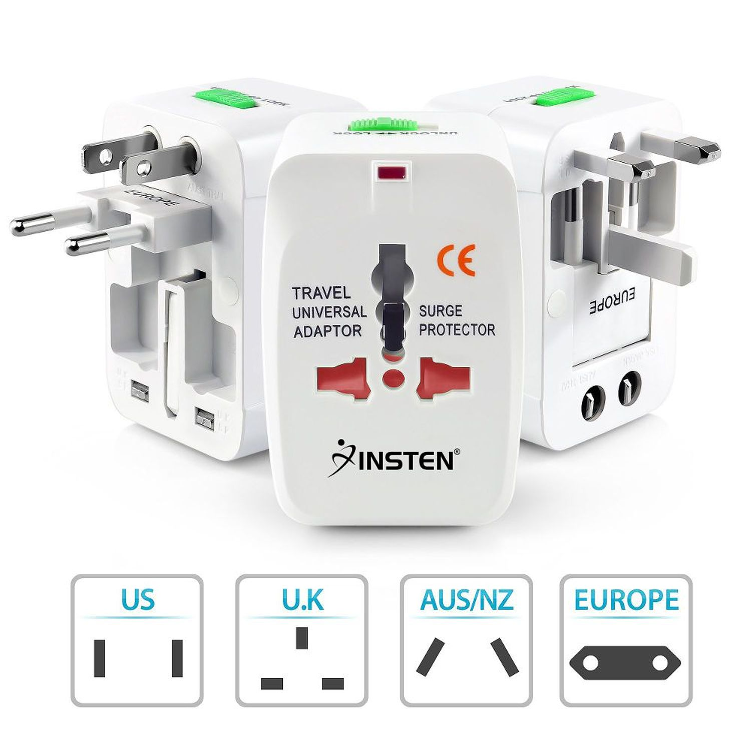 Insten Universal All-In-One (US UK EU AU) World Wide International Travel Charger Adapter Plug White