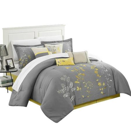 Yellow Comforter - Brooke Bliss Garden 12 Piece Comforter Set Bed In A Bag King & Queen Yellow