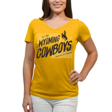Wyoming Cowboys Scatter Doodle Women'S/Juniors Team Short Sleeve V Neck Tee (Wyoming Cowboys Ulti Mat)