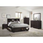 """90"""" X 76"""" X 52"""" Espresso Rubber and Tropical Wood California King Bed"""