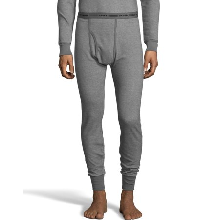 Hanes Mens Raschel Thermal Pant, XL, Grey Flannel