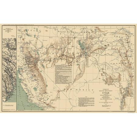 Old State Map   Utah Territory   Us War Dept 1860   35 19 X 23