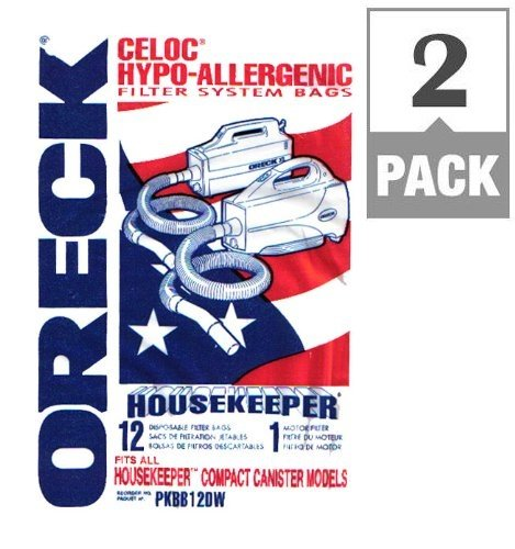Oreck PKBB12DW Super-Deluxe Compact Canister Bags *2 package special* (includes 24 filter bags+ 2 motor filters)