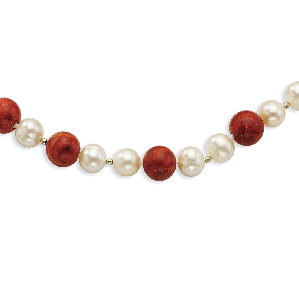 Sterling Silver 2-freshwater Cultured Pearls and Red Coral Necklace 18 Inch by