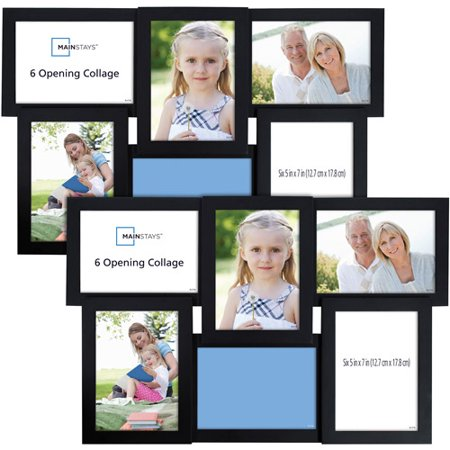 Mainstays 6-Opening 5x7 Collage with Glass, Black, 2pk