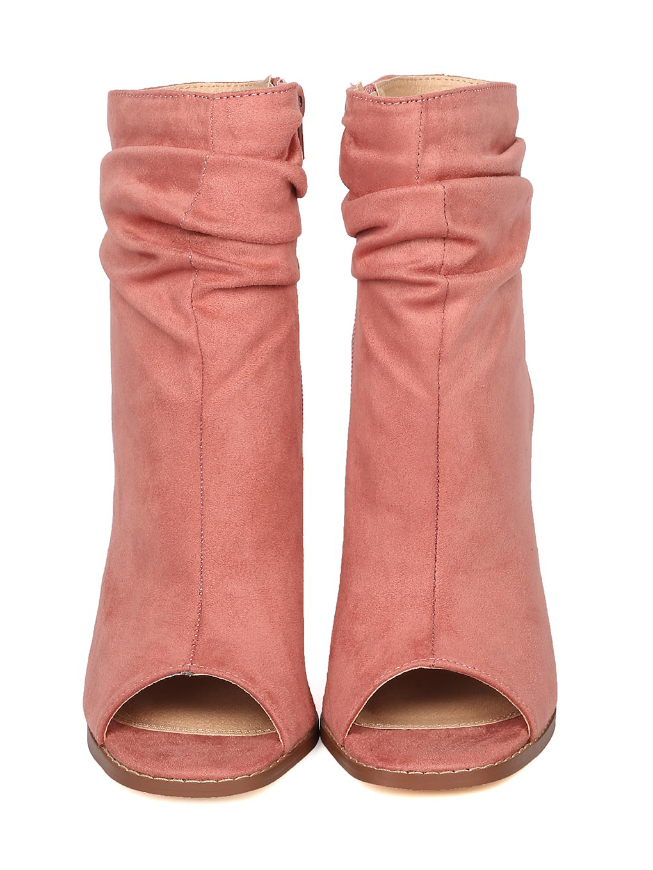 Liliana Anson-1 Dusty Pink Suede Peep Toe Ankle Cutout Block Heel Slouch Bootie (7)