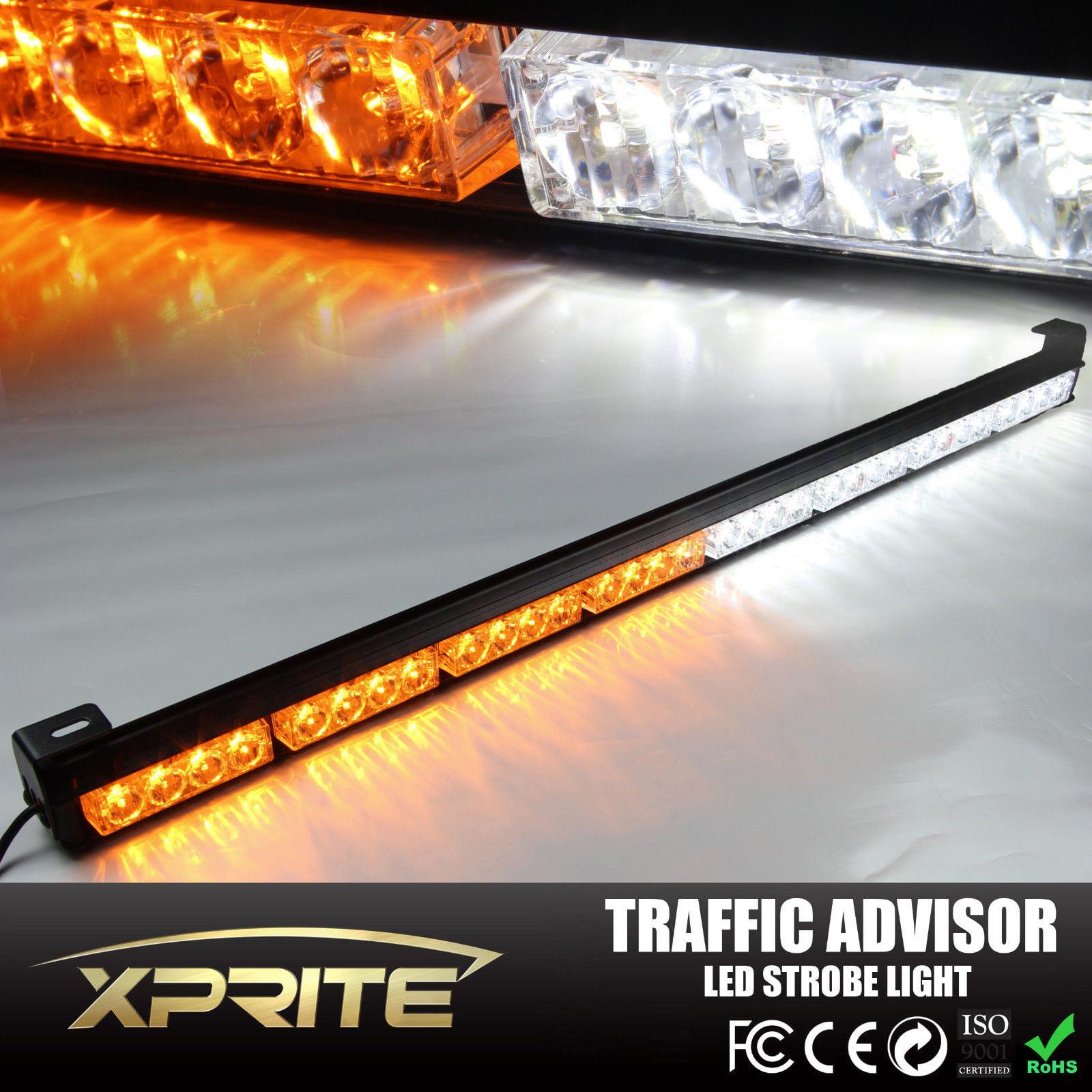 """Xprite 36"""" 32 LED Emergency Traffic Advisor Hazard Strobe Light Bar WHITE / AMBER"""