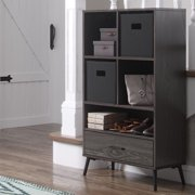 RiverRidge Woodbury Collection Storage Cabinet with Cubbies, Drawer and 2pc Bin - Black