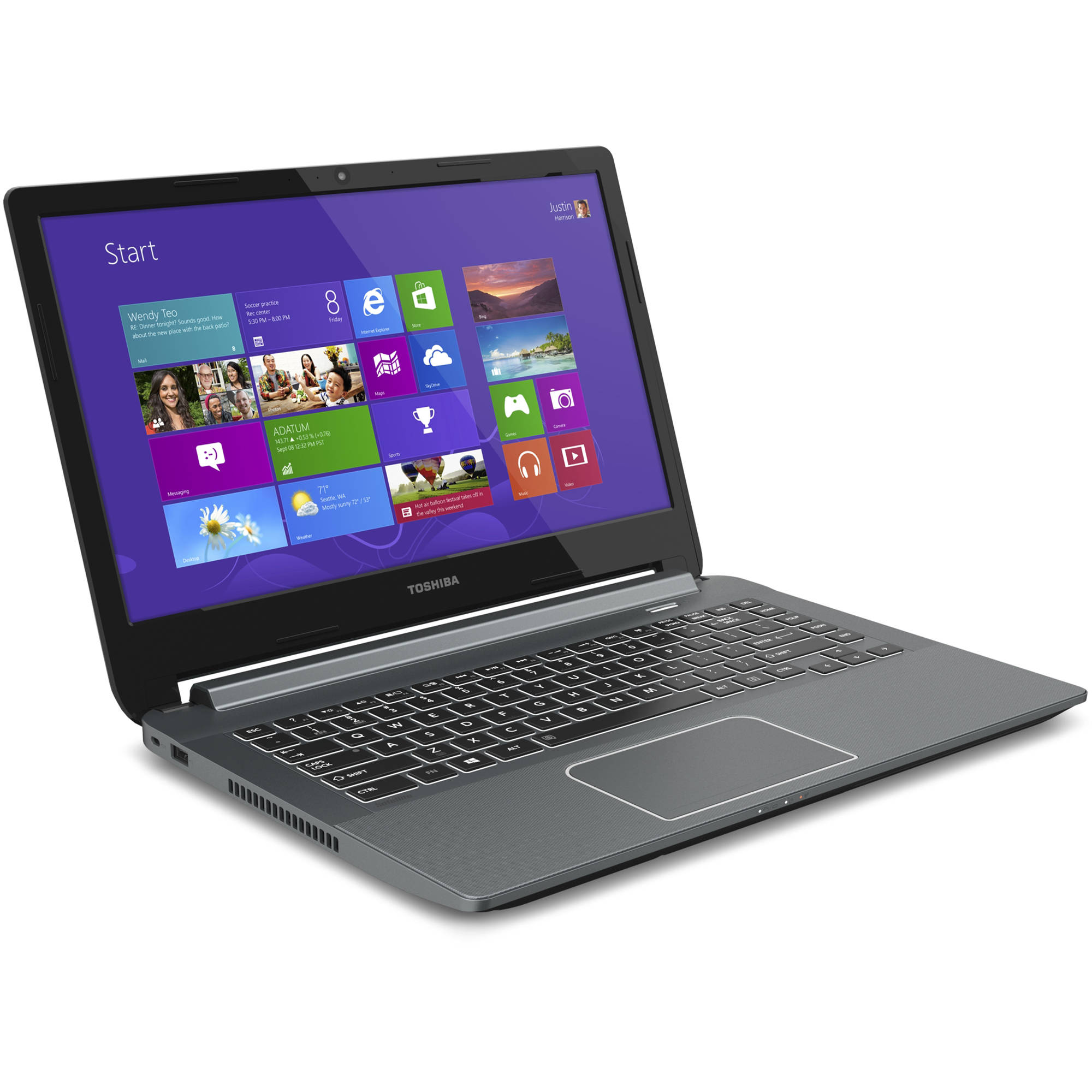 "Refurbished Toshiba Satellite 14"" Laptop PC with Intel Core i3-3217U Processor (1.8 GHz), 4GB Memory, 500GB Hard Drive and Windows 8, U945-S4380"