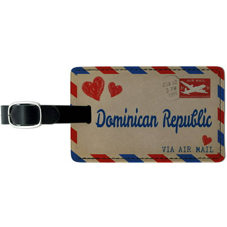 Air mail Postcard Love for Dominican Republic Leather Luggage ID Tag Suitcase