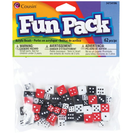 Fun Pack Acrylic Dice Beads 8-10mm, 62pk, Assorted