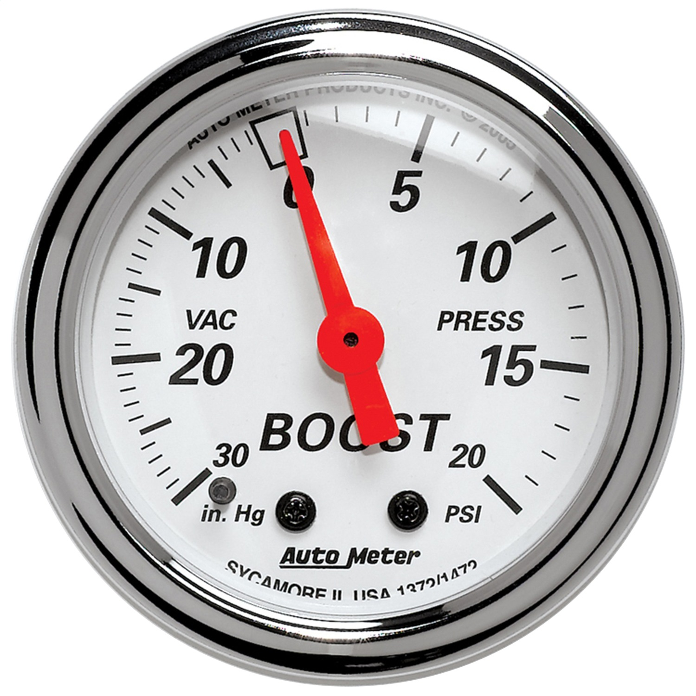 Auto Meter 1372 Arctic White Mechanical Boost/Vacuum Gauge