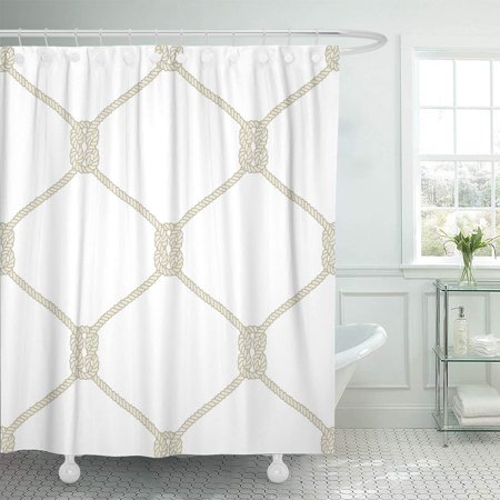 KSADK Nautical Rope Endless with Beige Fishing Net and Marine Knots on White Bathroom Shower Curtain 60x72 inch
