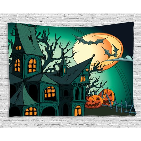 Halloween Decorations Tapestry, Haunted Medieval Cartoon Bats in Twilight Gothic Fiction Spooky Art, Wall Hanging for Bedroom Living Room Dorm Decor, 60W X 40L Inches, Orange Teal, by - Dorm Door Decorations For Halloween