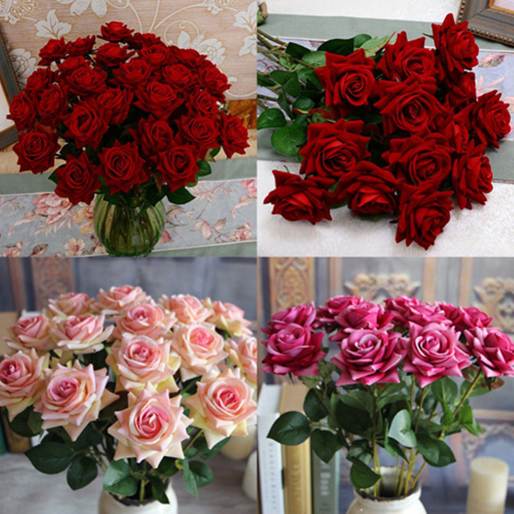 HiCoup 1 Pc Artificial Rose Fake Flowers Leaf Home Room Bridal Bouquet Wedding Decor