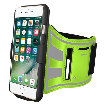 iPhone 8 Plus Sports Armband, Light Weight Sweatproof Gym Running Bike Armband with Built-In Holster and Carry On Shell Kickstand Case Night Safety Reflective Large Strap for iPhone 8 Plus - Green