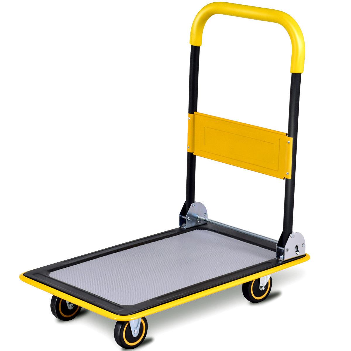 Costway 330lbs Folding Platform Cart Dolly Push Hand Truck Moving Warehouse Foldable
