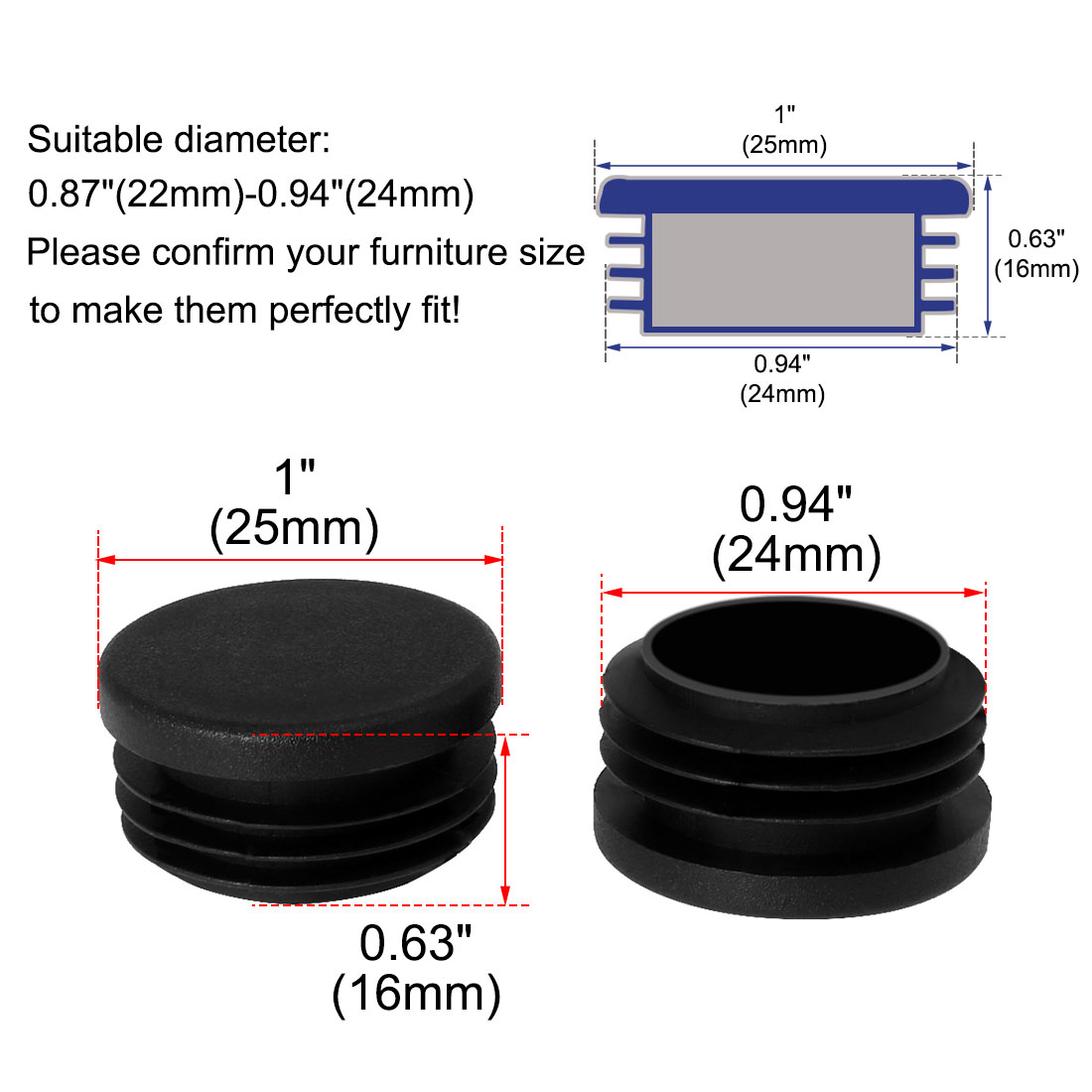 """Plastic Round Tube Insert Glide End Cap 25mm 1"""" OD 36pcs Protect Iron Desk Feet - image 6 of 7"""