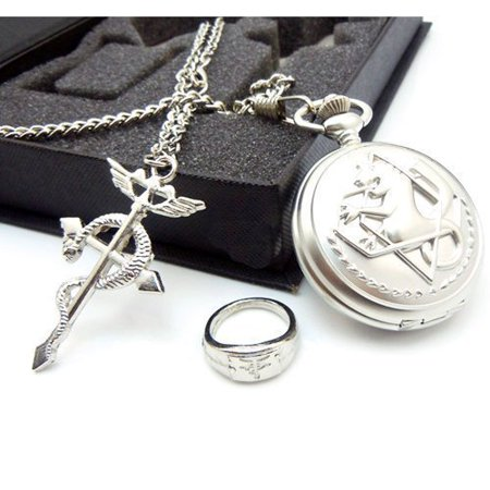 Full Metal Alchemist Pocket Watch Necklace Ring Edward Elric Anime Cosplay Gift (Cosplay Pocket Watch)