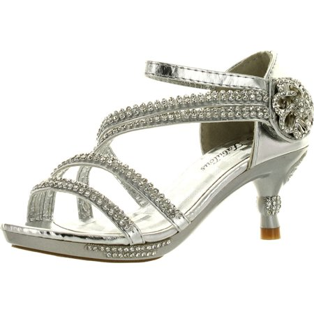 9a5b24f76a96b1 Forever Glamour-28 Kids Rhinestone Flower Sparkling Bling Heel designed  Dress Sandals - Walmart.com