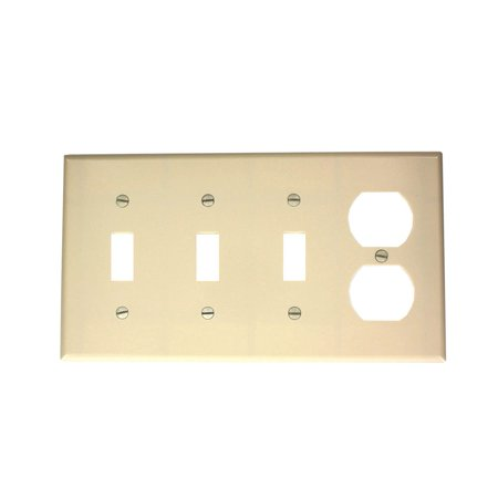 P38-T 4-Gang 3-Toggle 1-Duplex Device Combination Wallplate, Standard Size, Light Almond By Leviton Ship from US