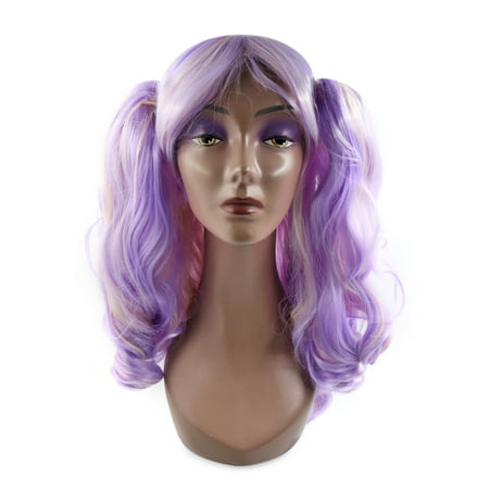 Purple Blonde Synthetic Long Curly Cosplay Wig Dual Ponytails Hair w/ Wigs - Long Blonde Curly Wig