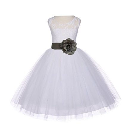 Ekidsbridal Ivory Floral Lace Bodice Tulle Flower Girl Dresses Wedding Pageant Formal Special Occasion Dresses First Communion Holy Baptism Junior Toddler Recital Reception Ball Gown 153S (Tulle Ivory Flower Girl Dresses)