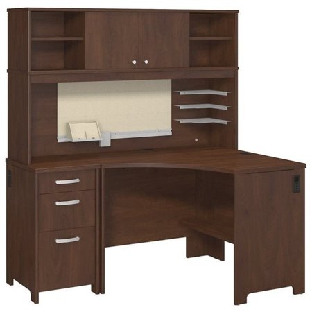 bush envoy corner computer desk with hutch in hansen cherry. Black Bedroom Furniture Sets. Home Design Ideas
