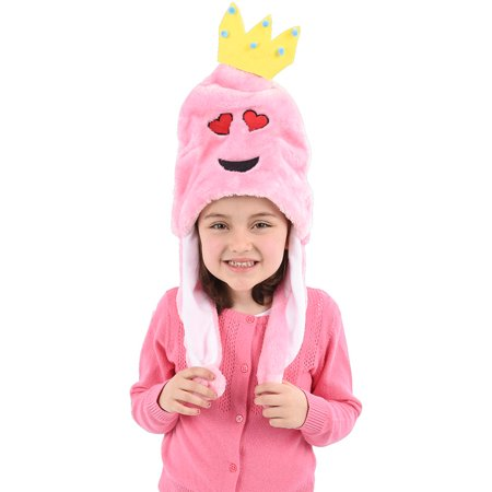 Child's Pink Princess Heart Eyes Emoji Emoticon Pom Pom Hat Costume Accessory (Japanese Emoticons Halloween)