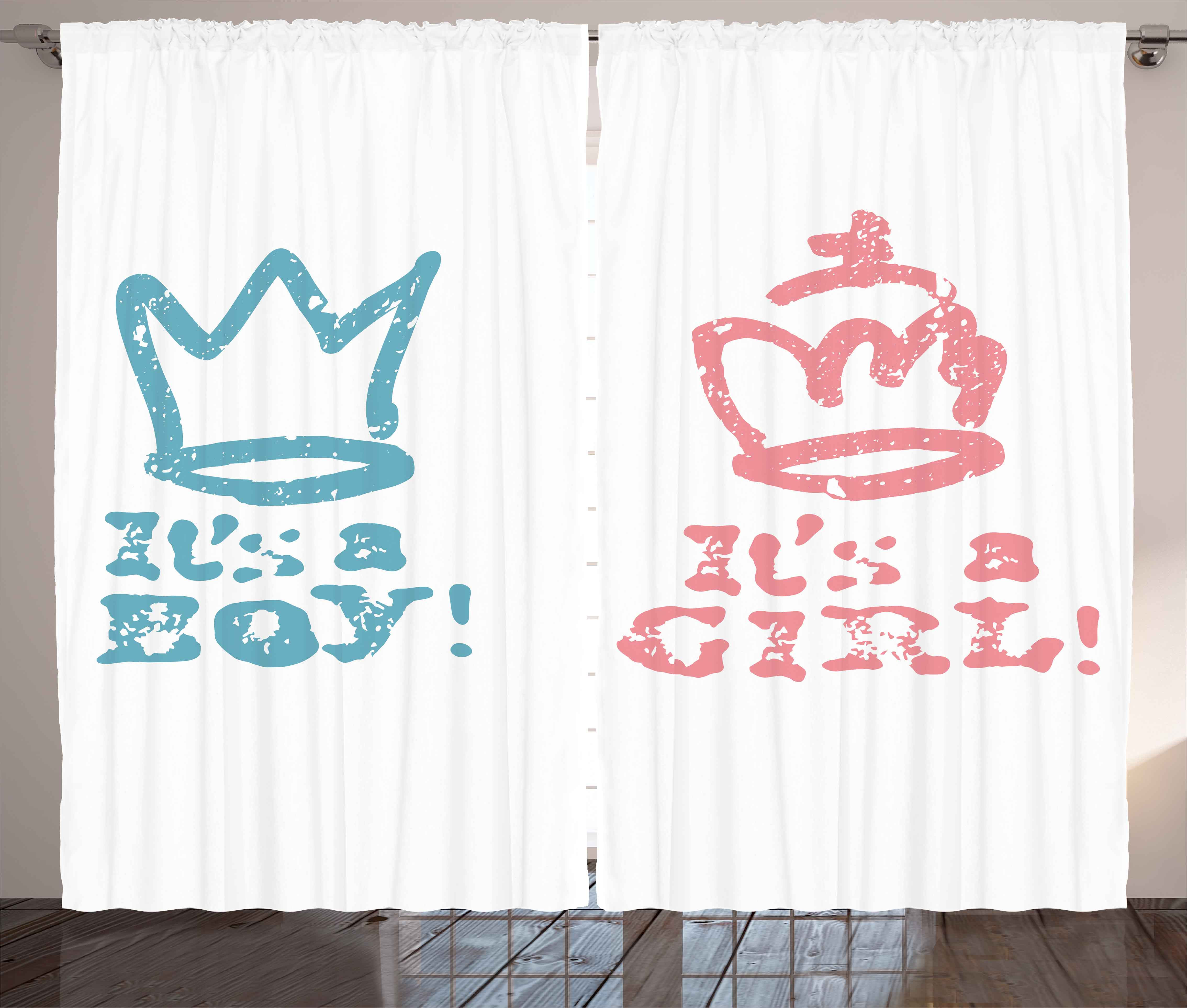 Gender Reveal Curtains 2 Panels Set Queen Boy King Crown In Pastel Colors Cute Children Kids Theme Window D For Living Room Bedroom