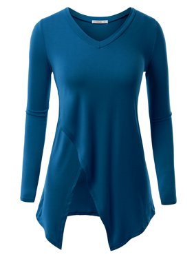 f4768ccfd34 Product Image Doublju Women s Basic V-Neck Long Sleeve Tunic Top with  Crossover Hem With Plus Size
