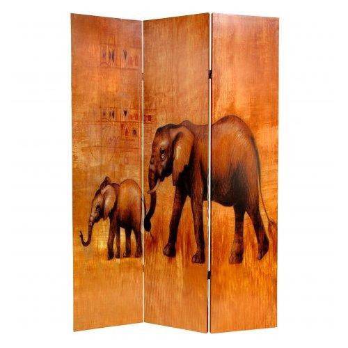 Oriental Furniture 71'' x 47.63'' Giraffe & Elephant 3 Panel Room Divider