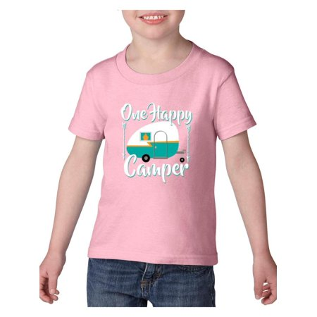 Camping One Happy Camper Heavy Cotton Toddler Kids T-Shirt Tee Clothing